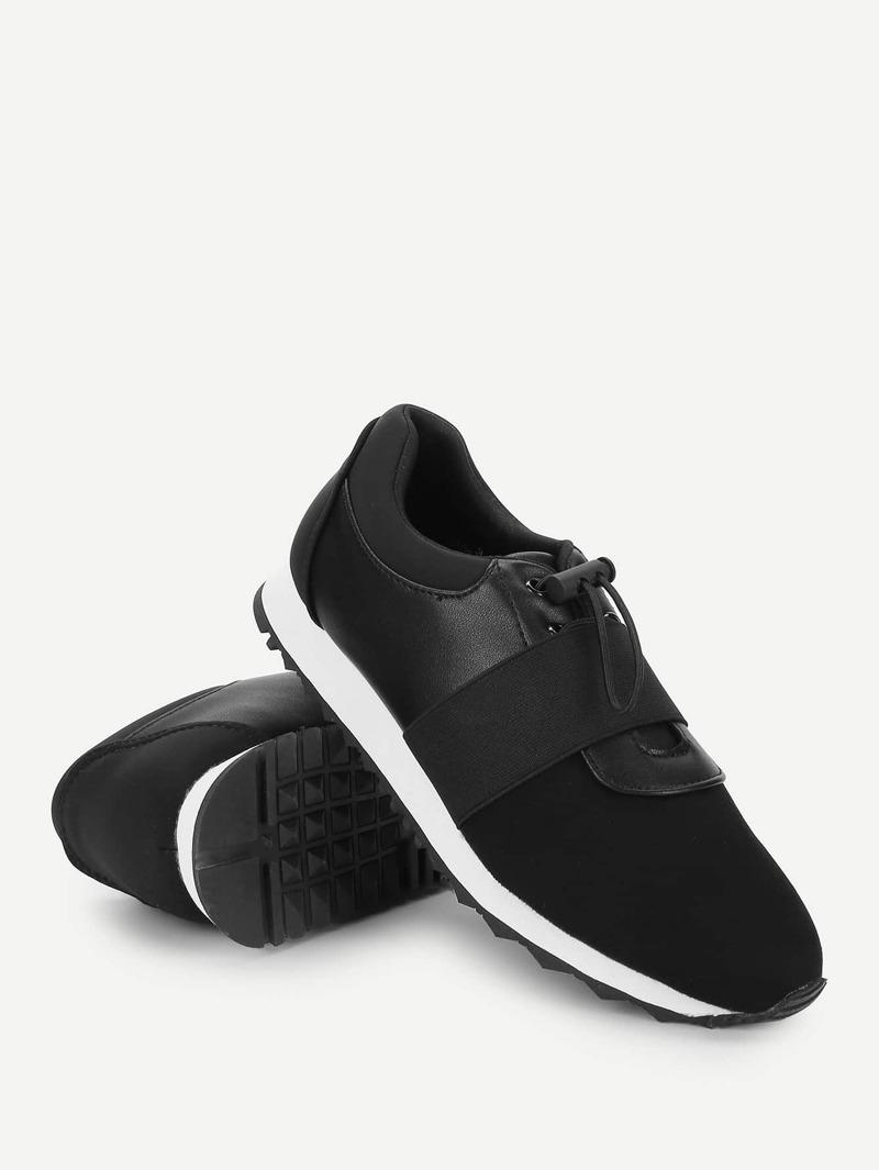 Low Top Slip On Velcro Sneakers, Black