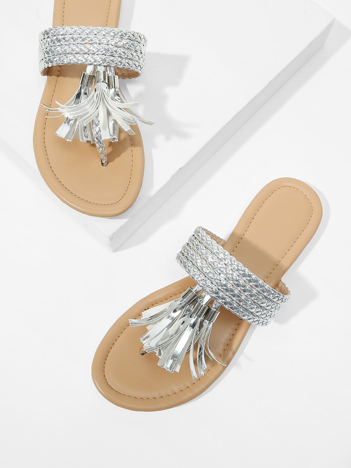 Plaited Strap Tassel Detail Toe Post Sandals