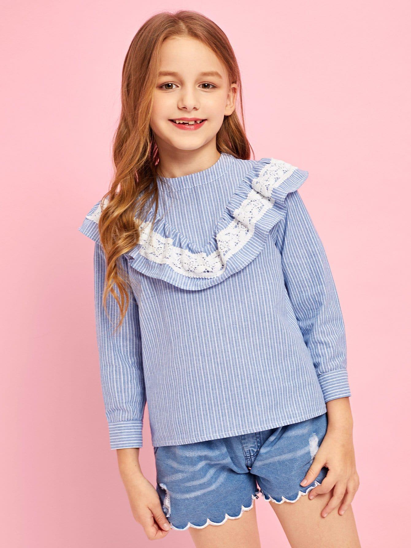 Купить Полосатая блузка с кружевными оборками для девочки, Sashab, SheIn