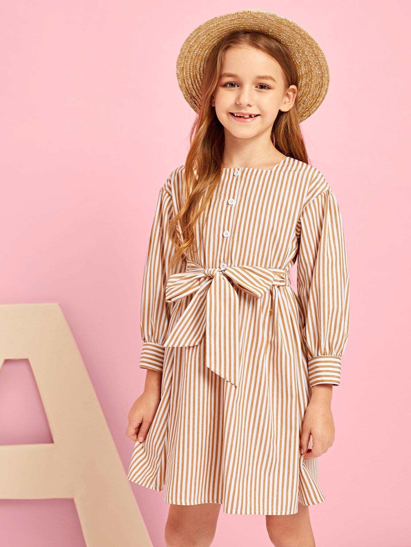 Купить Полосатое платье с поясом и с украшением пуговицы для девочки, Sashab, SheIn