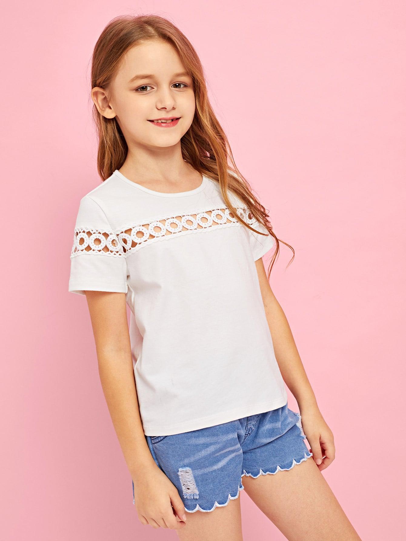 Купить Простая футболка с кружевами для девочки, Sashab, SheIn