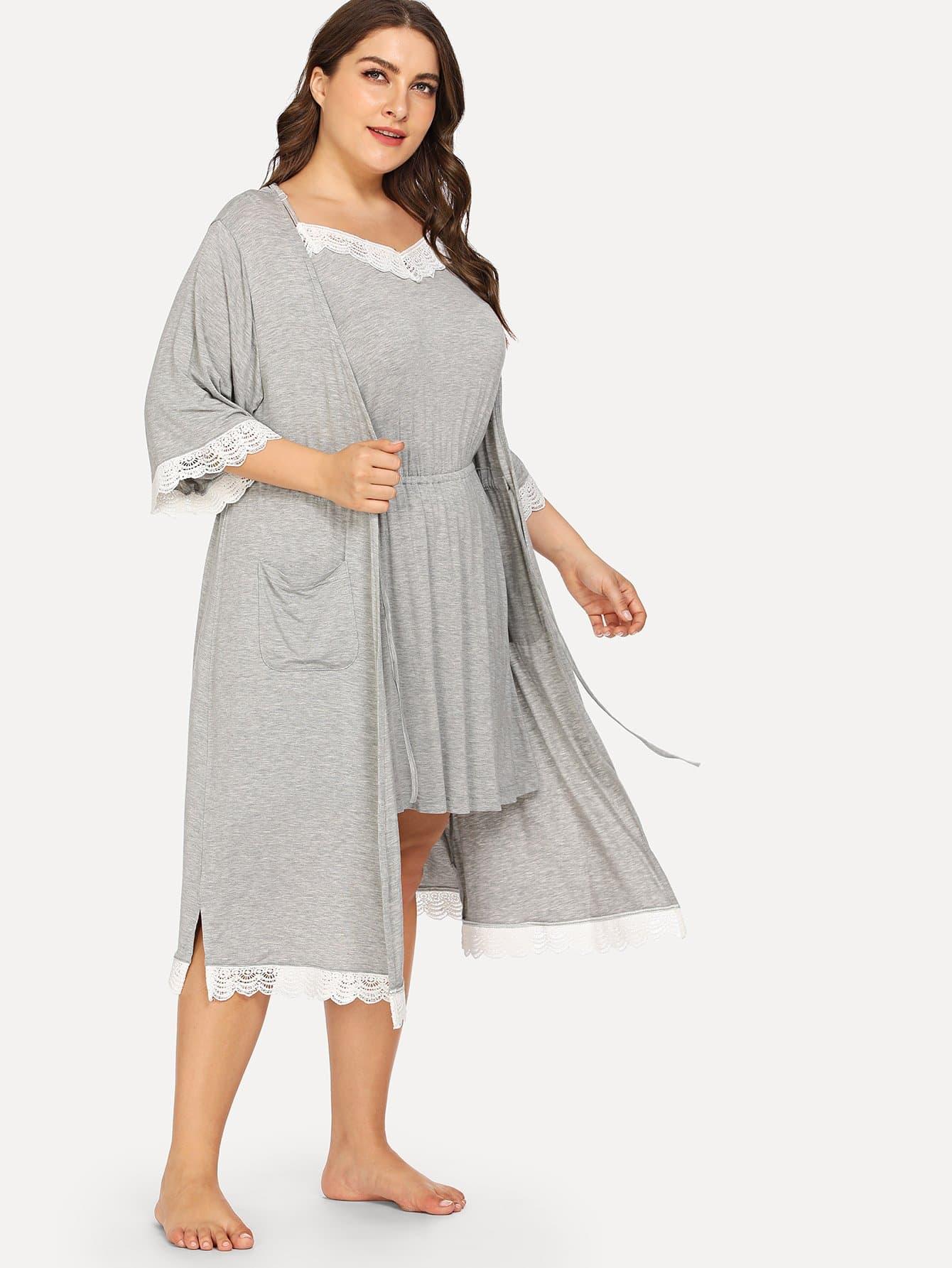 Большая ситцевая кружевная ночная сорочка и домашний халат, Franziska, SheIn  - купить со скидкой