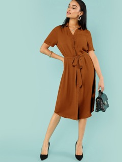 Roll Up Sleeve Belted Shirt Dress