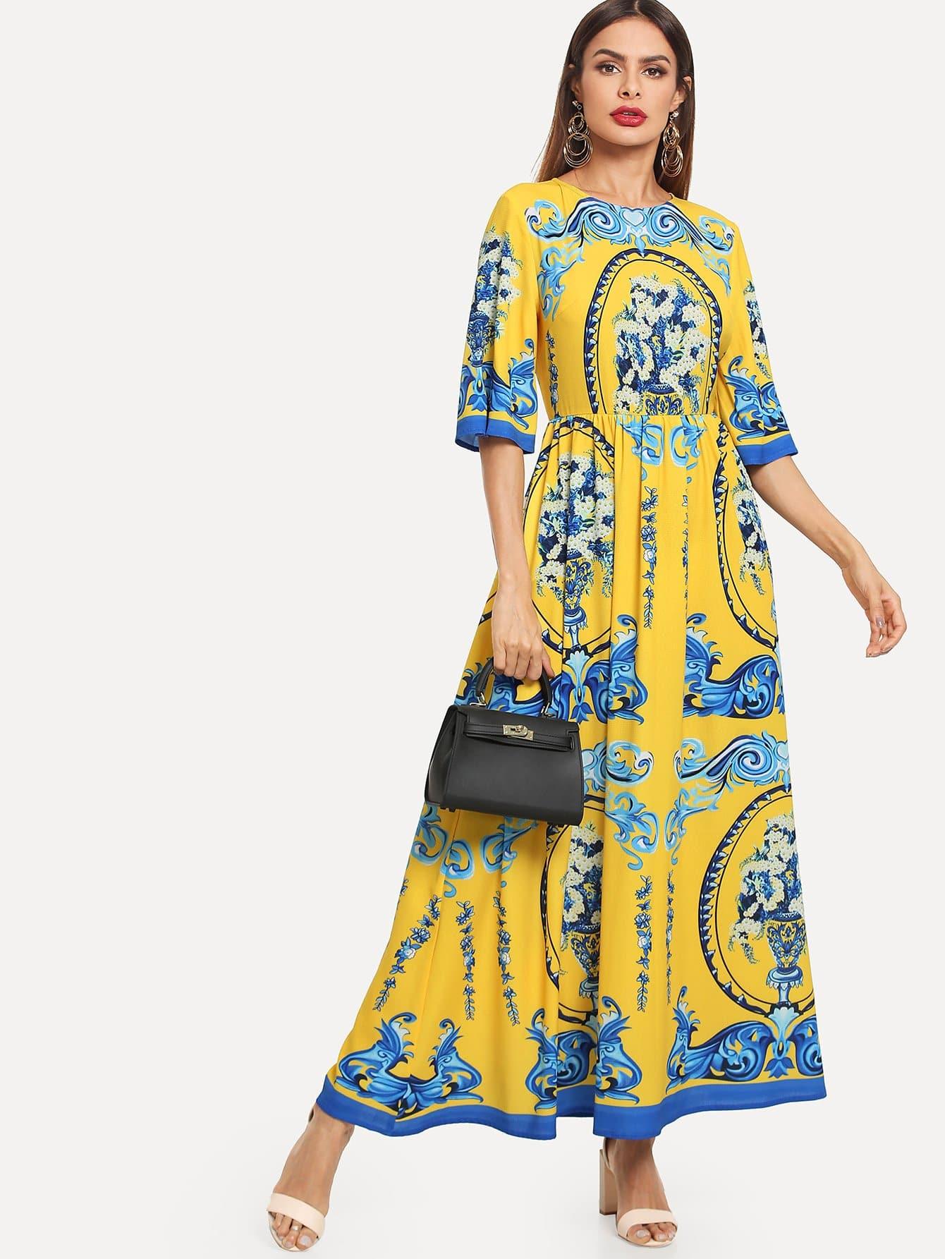 Купить Облегающее платье-клёш с рисунком принтом, Andy, SheIn