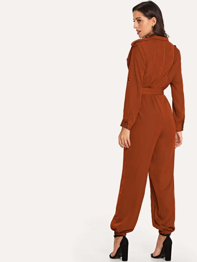 Roll Tab Up Sleeve Button Half Placket Jumpsuit