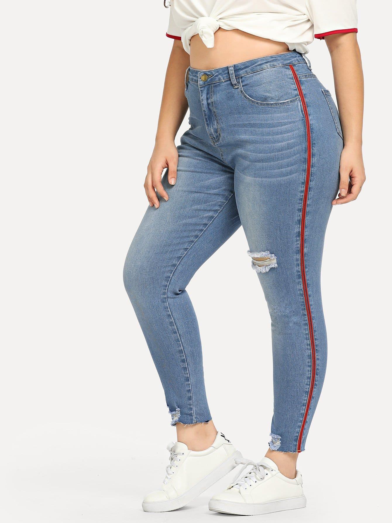 Купить Большие джинсы с полосами по обе стороны, Carol, SheIn