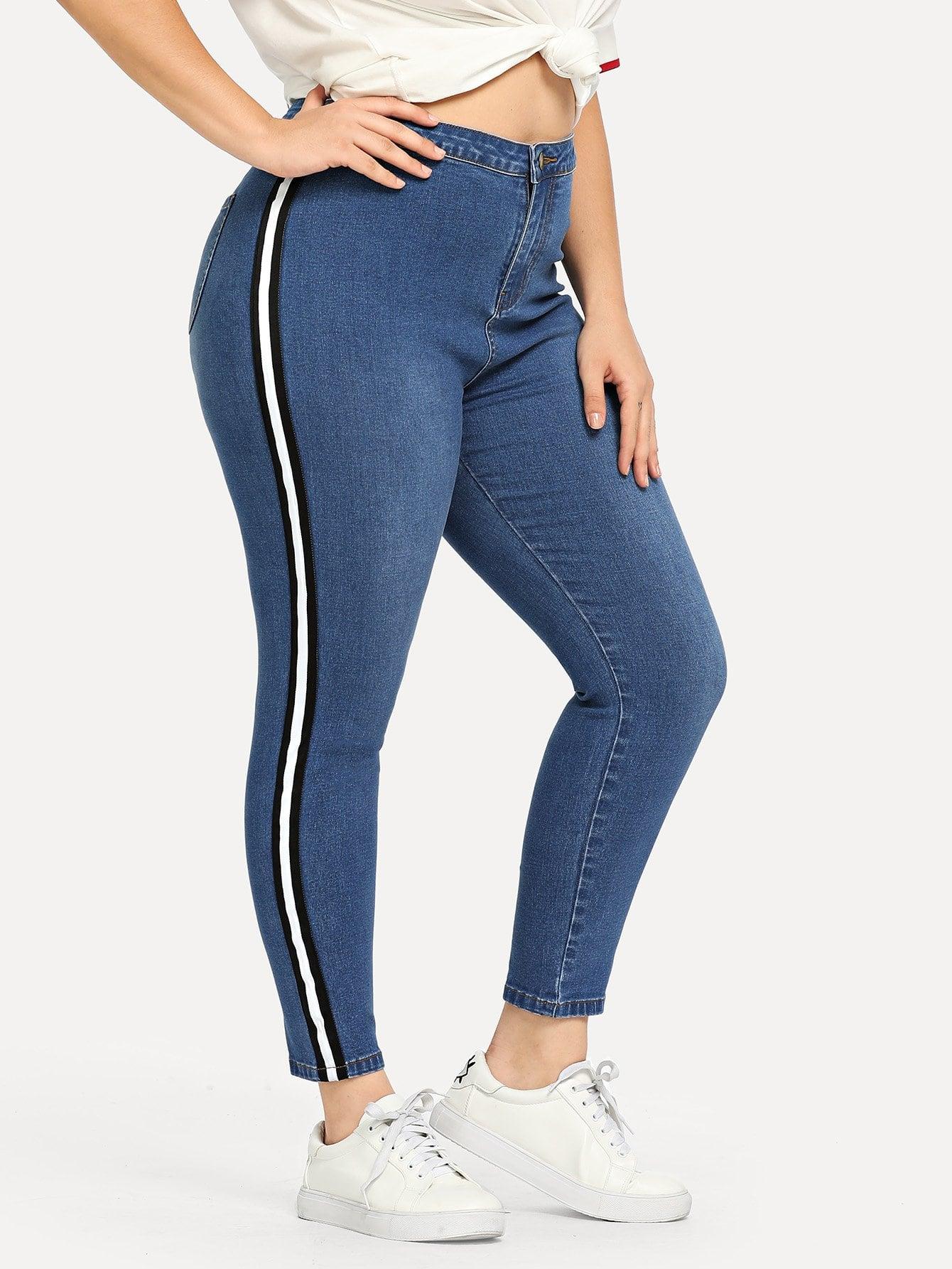 Купить Большие облегающие джинсы с полосами по обе стороны, Carol, SheIn