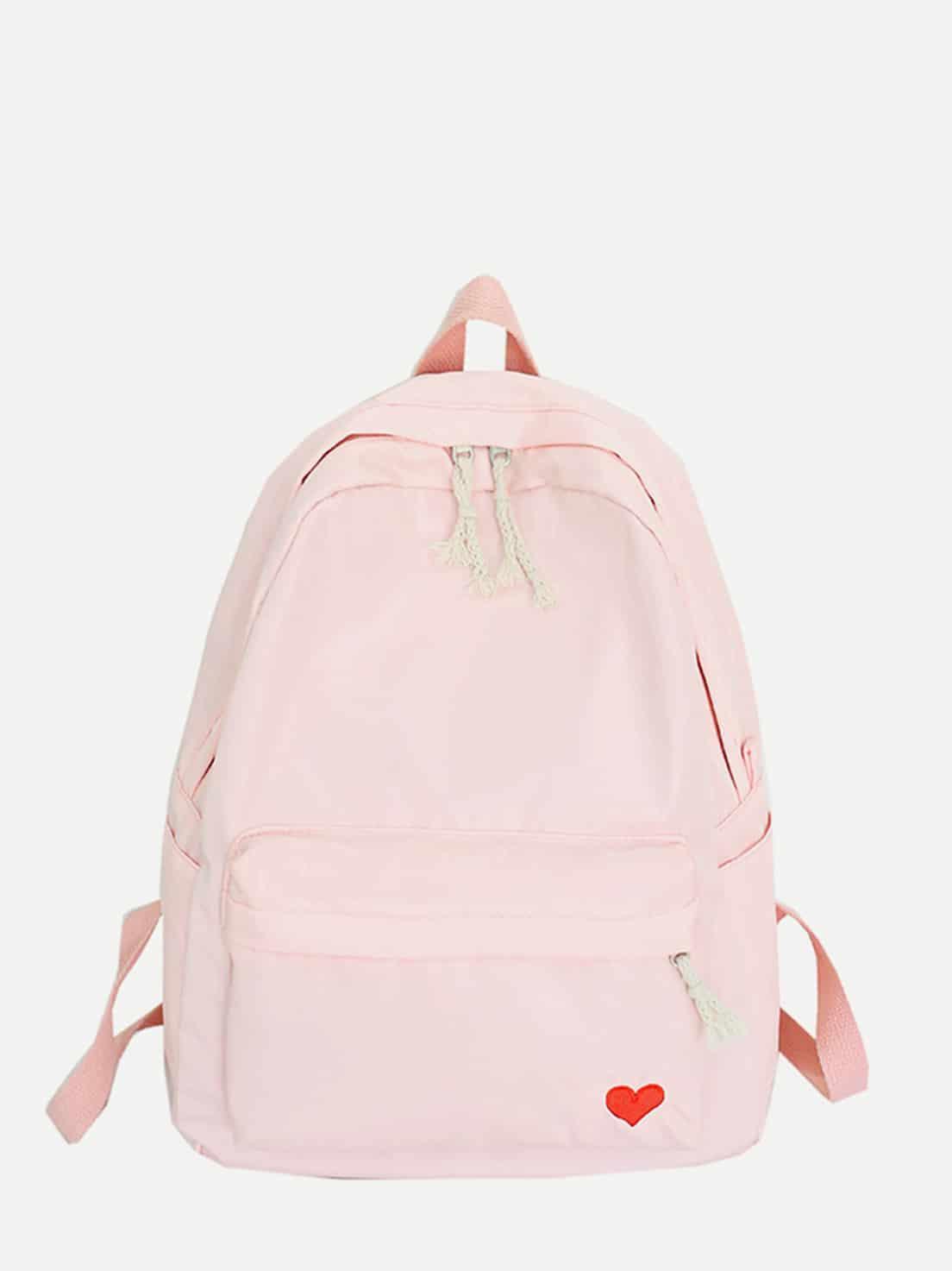 Купить Рюкзак с рисунками вышитой сердца и с карманом, null, SheIn
