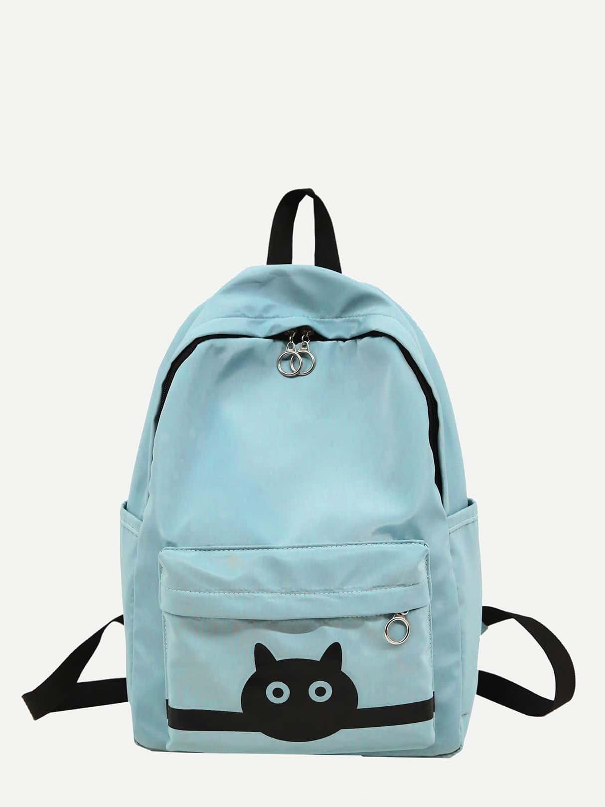Купить Рюкзак с рисунком кота и с карманом, null, SheIn