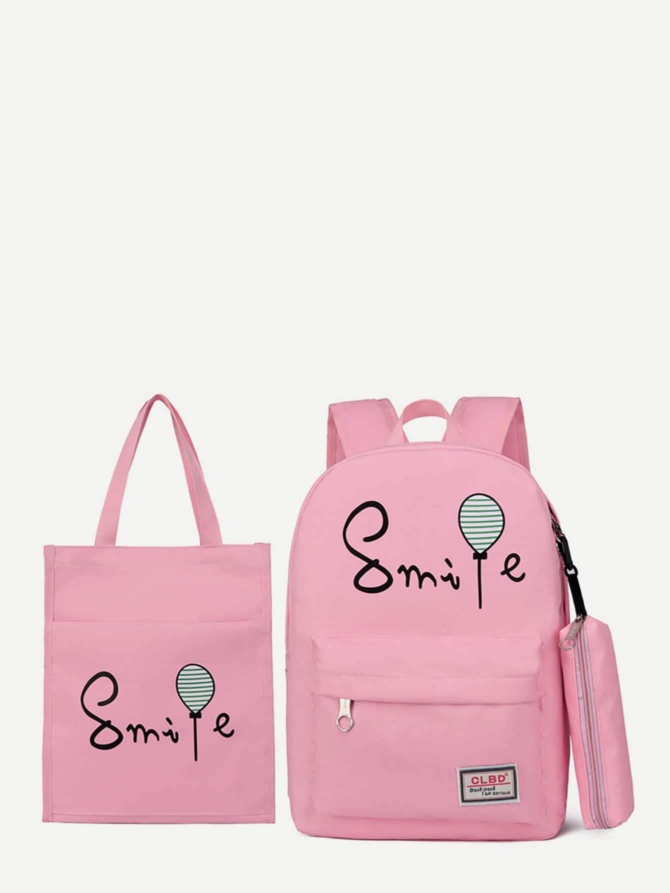 Купить Рюкзак с рисунками лозунгов и пенал для карандашей и сумка для покупок, null, SheIn