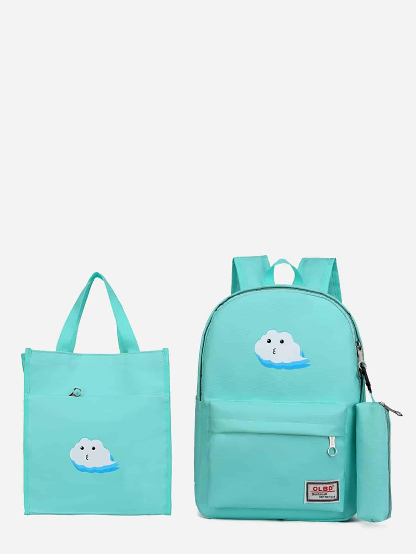 Рюкзак с рисунками облак и пенал для карандашей сумка покупок