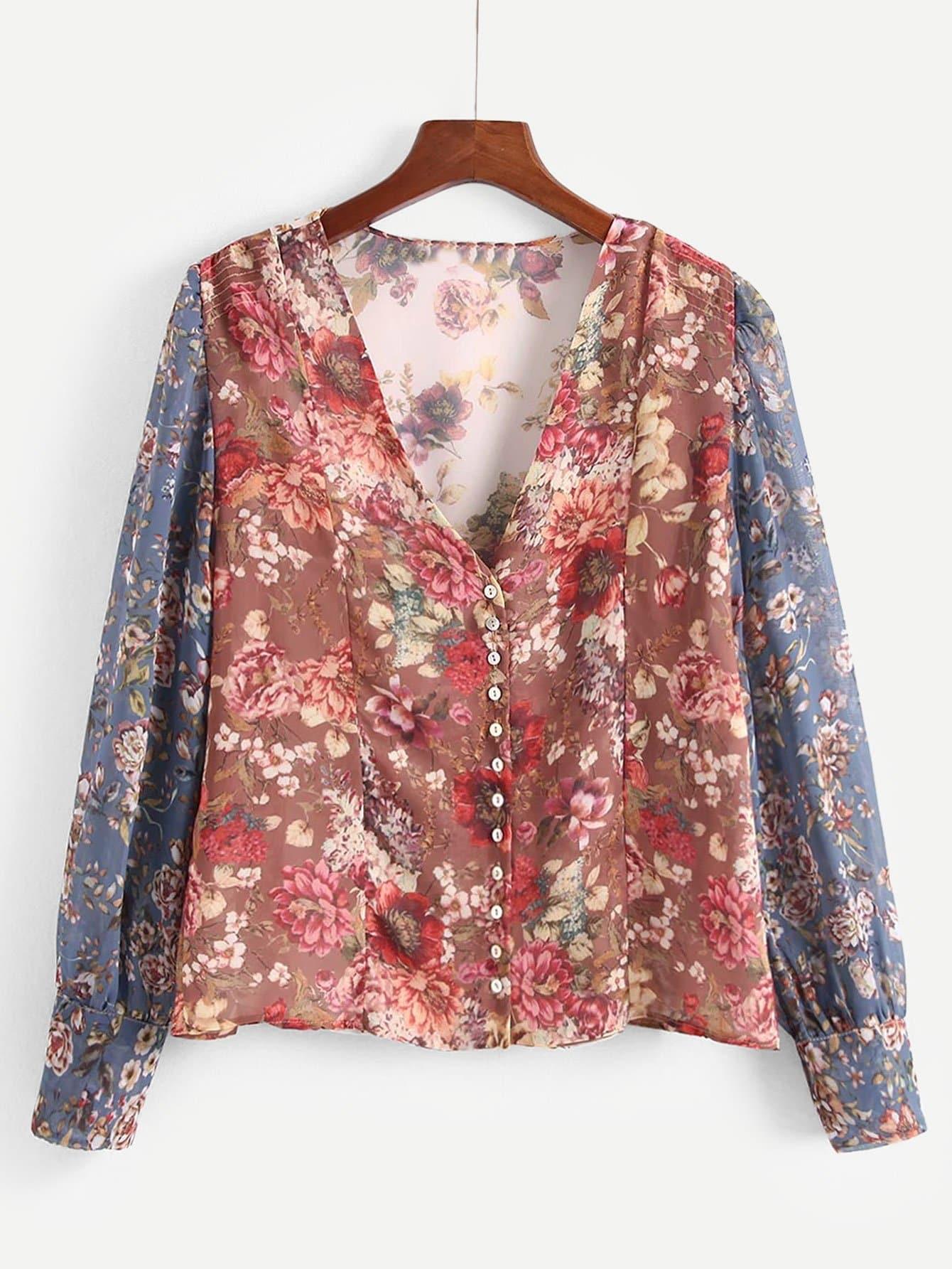 Купить Общая ситцевая рубашка с украшением пуговицы, null, SheIn