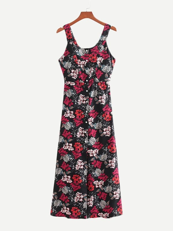 Купить Общое ситцевое платье с украшением пуговицы, null, SheIn