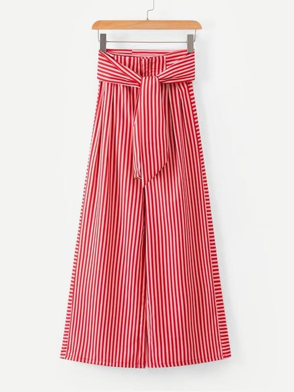 Купить Симетрические полосатые широкие ножные штаны с поясом, null, SheIn