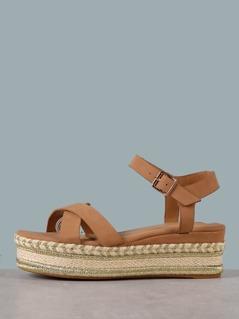 Gold Detail Flatform Crisscross Sandals
