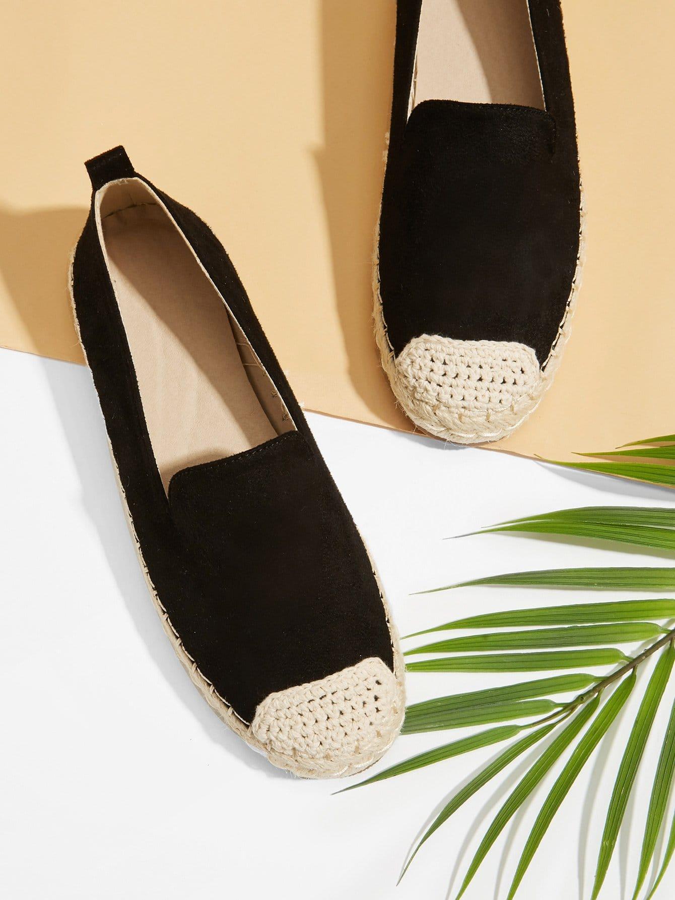 Купить Туфли на плоской подошве с украшением трикотаного, null, SheIn
