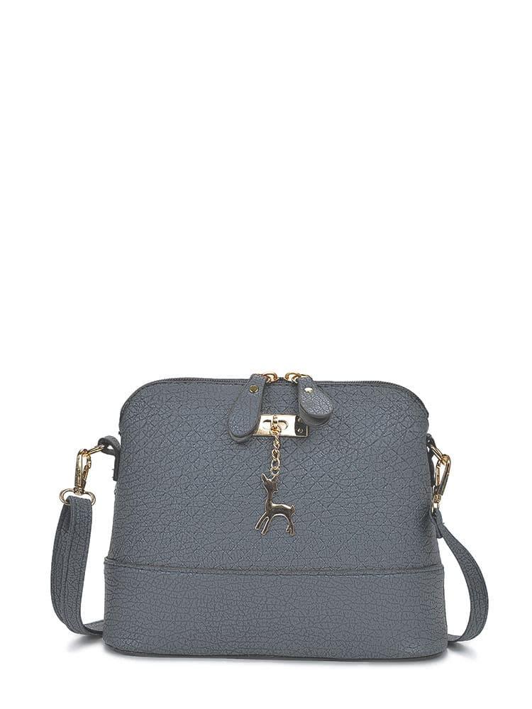 Купить со скидкой Metal Detail Double Zipper PU Shoulder Bag