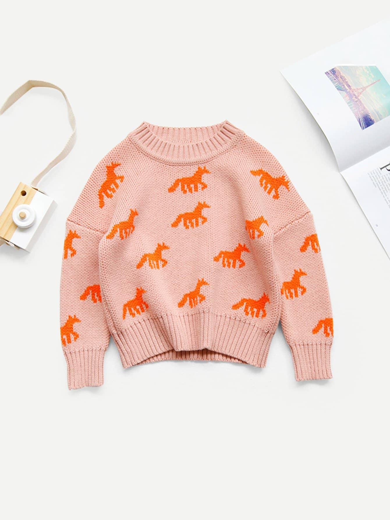 Girls Unicorn Pattern Sweater