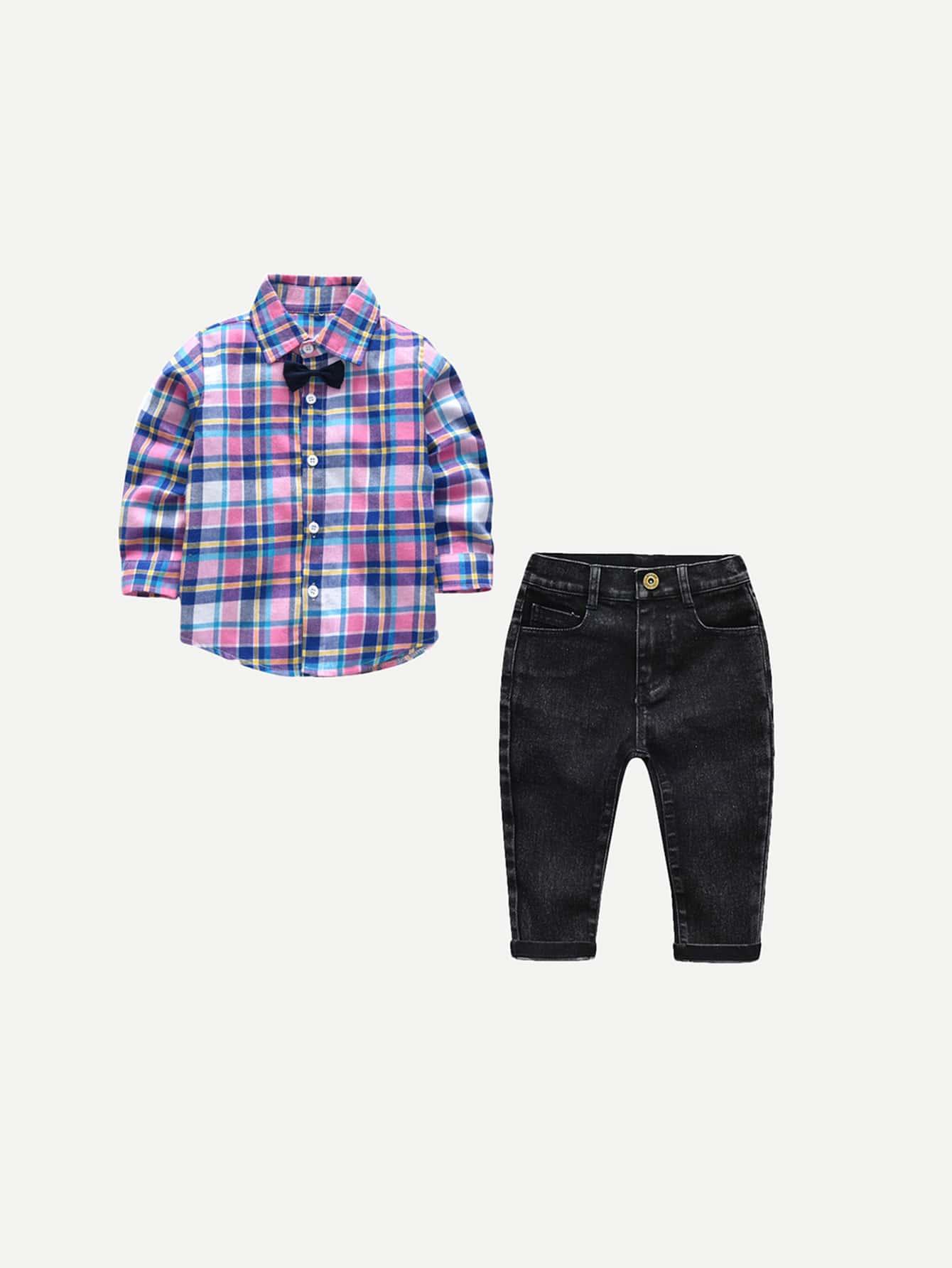 Мальчики Изогнутые Подол Клетчатой Рубашке С Джинсами