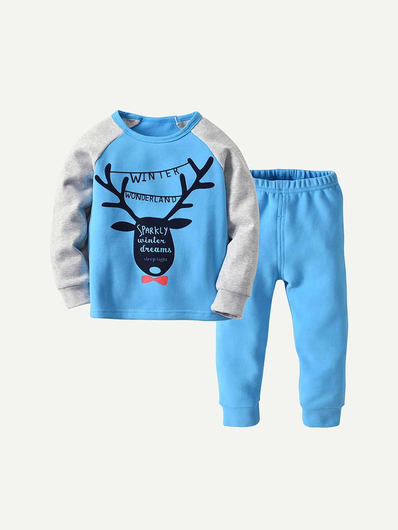 Купить Блузка с рисунками буквы и брюки для мальчика, null, SheIn