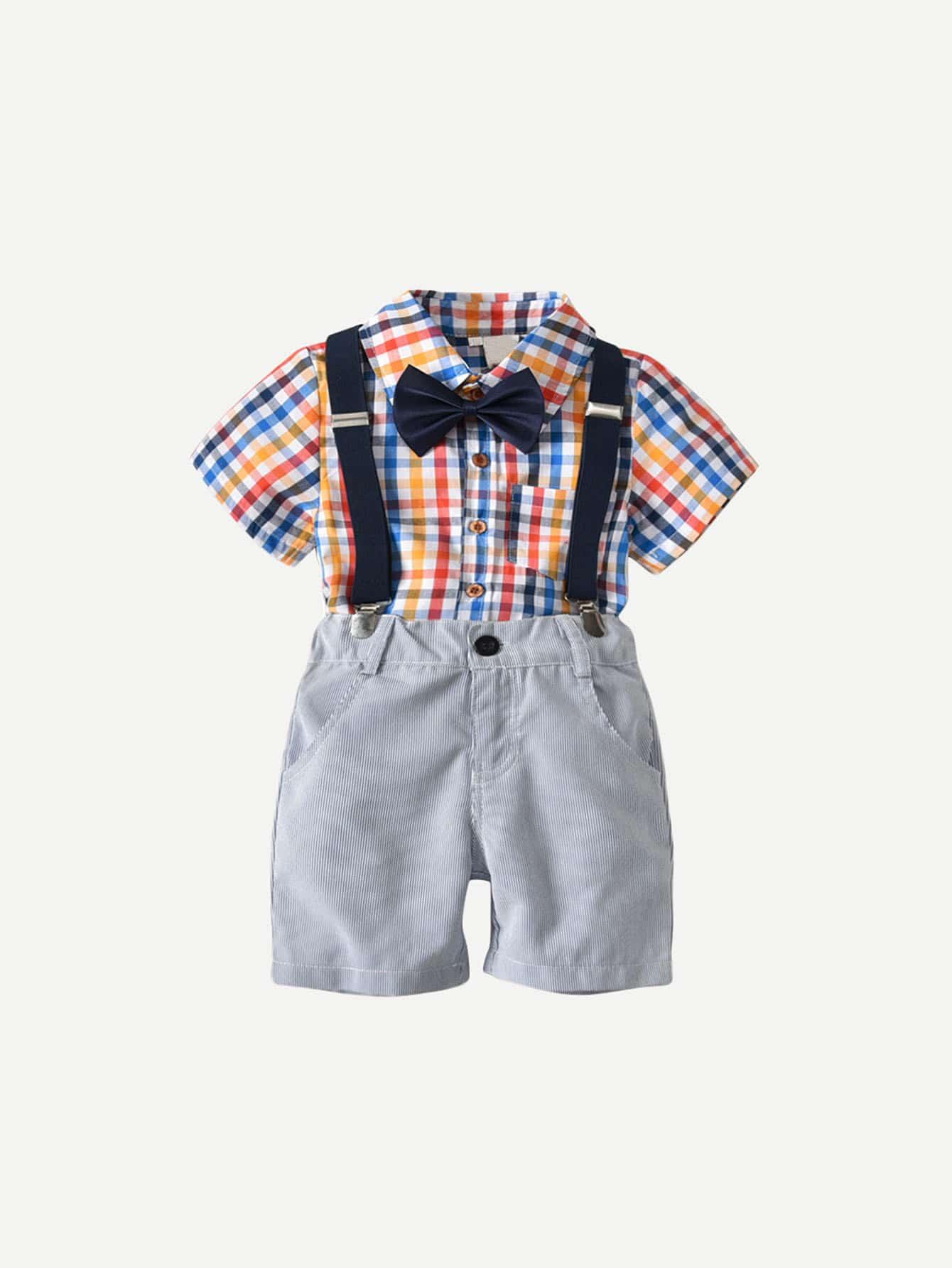 Клетчатая Рубашка Для Мальчиков С Комбинезоны