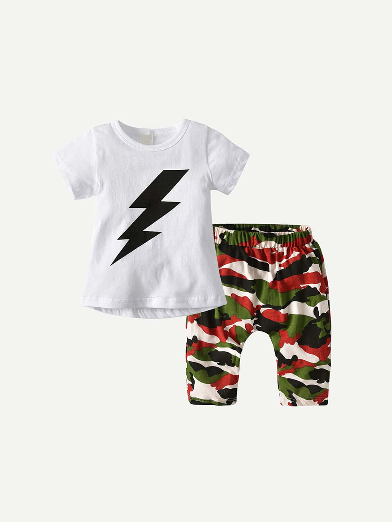 Boys lightning Pattern Tee With Camo Print Pants
