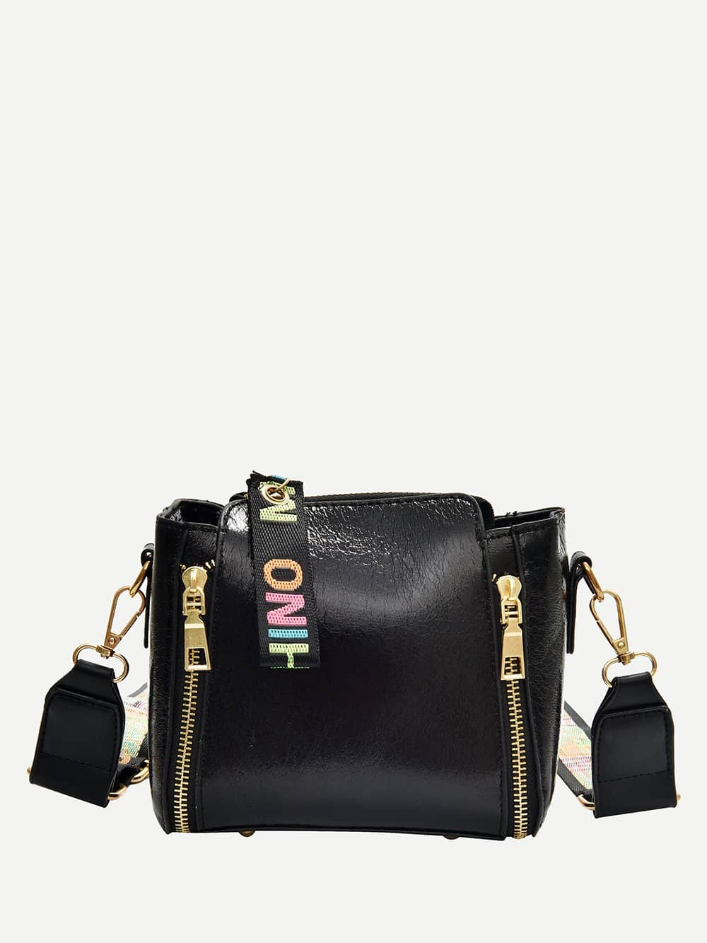 Zipper Shoulder Bag With Slogan Strap насос piusi f0033200a