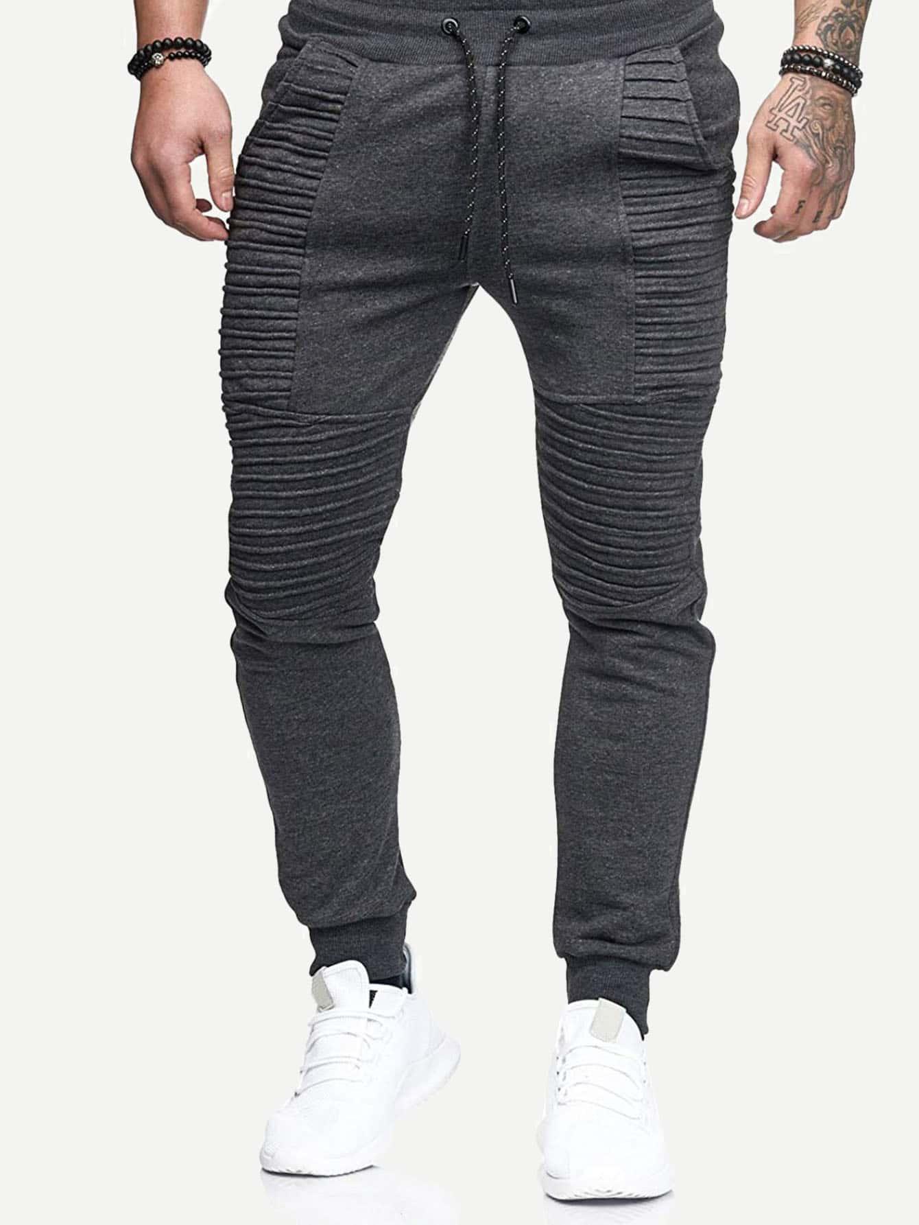 Men Pleated Plain Drawstring Pants