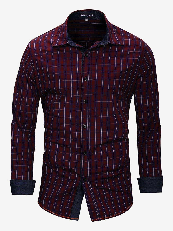 Men Plaid Curved Hem Shirt