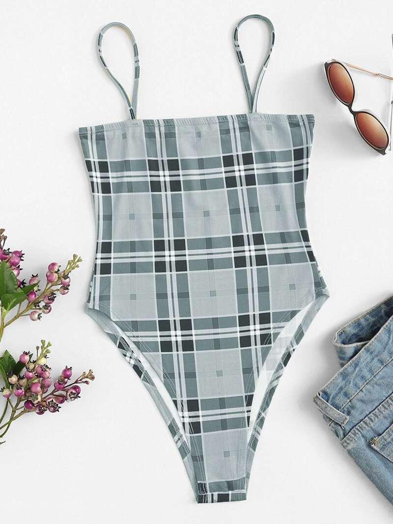 Plaid Cami Bodysuit, Grey