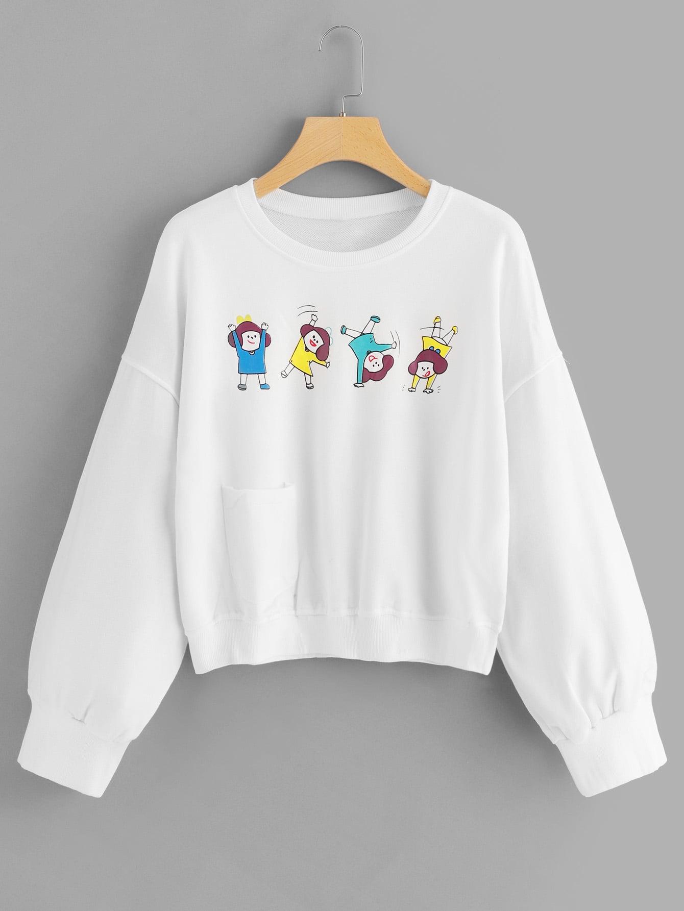 Sweatshirt mit sehr tief angesetzter Schulterpartie und Karikatur Muster