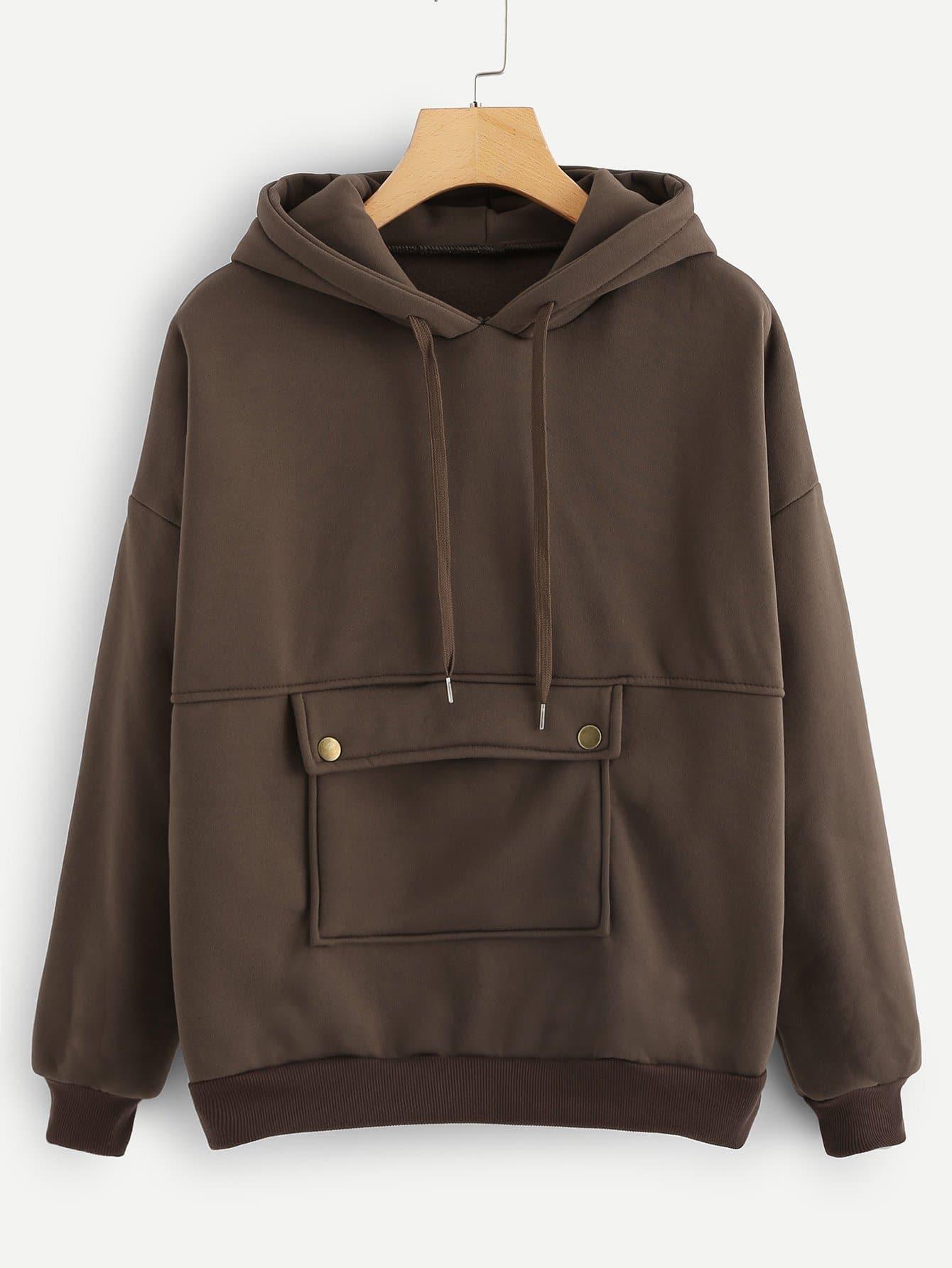 Hoodie mit sehr tief angesetzter Schulterpartie und Tasche vorn