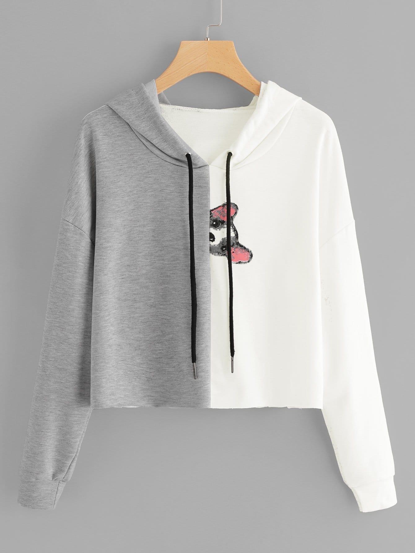 Повседневный Животный принт на кулиске Пуловеры Серый Свитшоты
