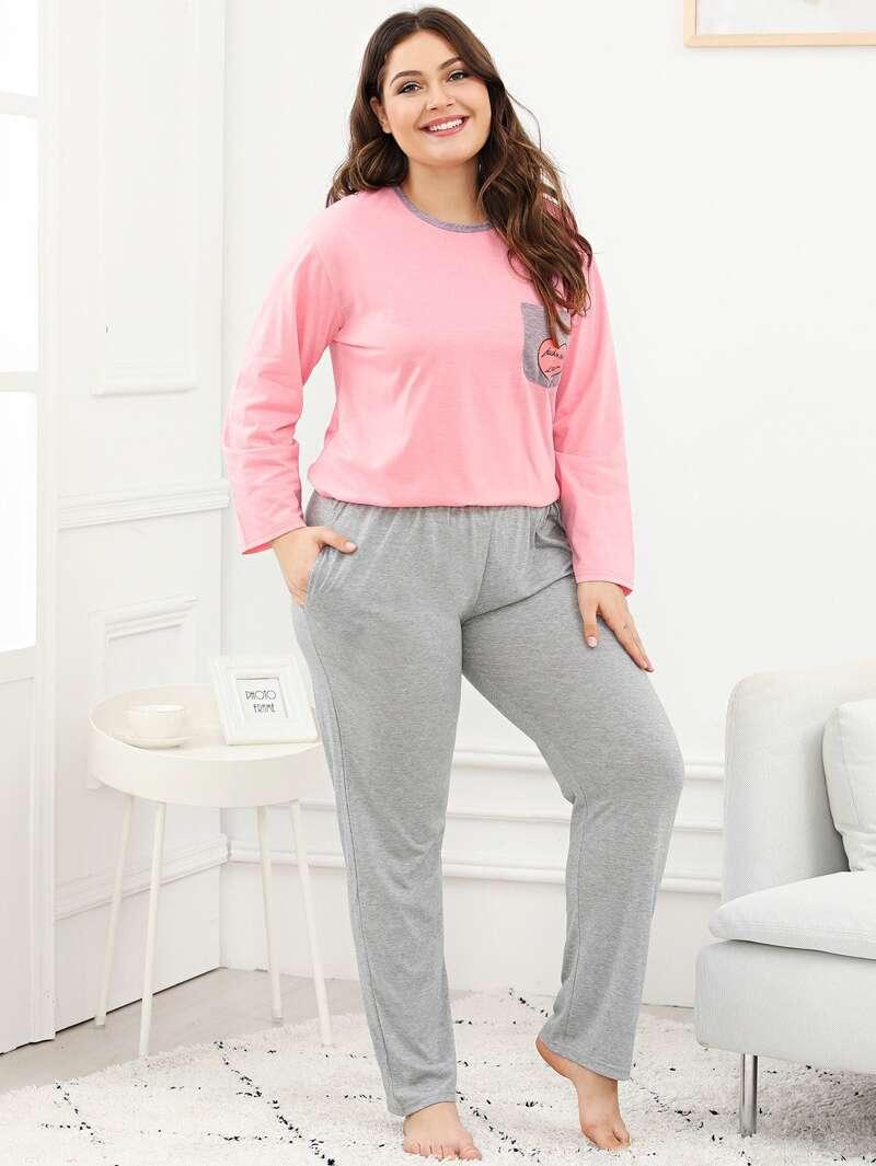 Plus Heart Print Pocket Pajama Set, Multicolor