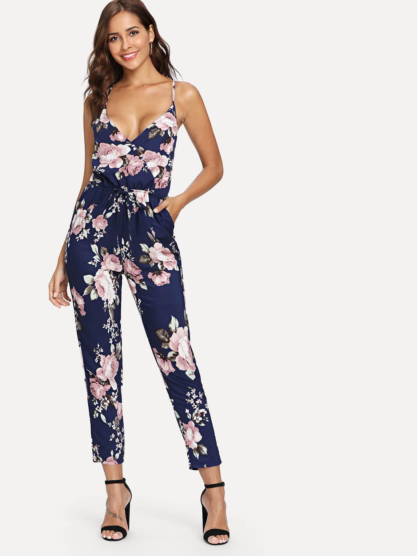 Surplice Front Floral Print jumpsuit