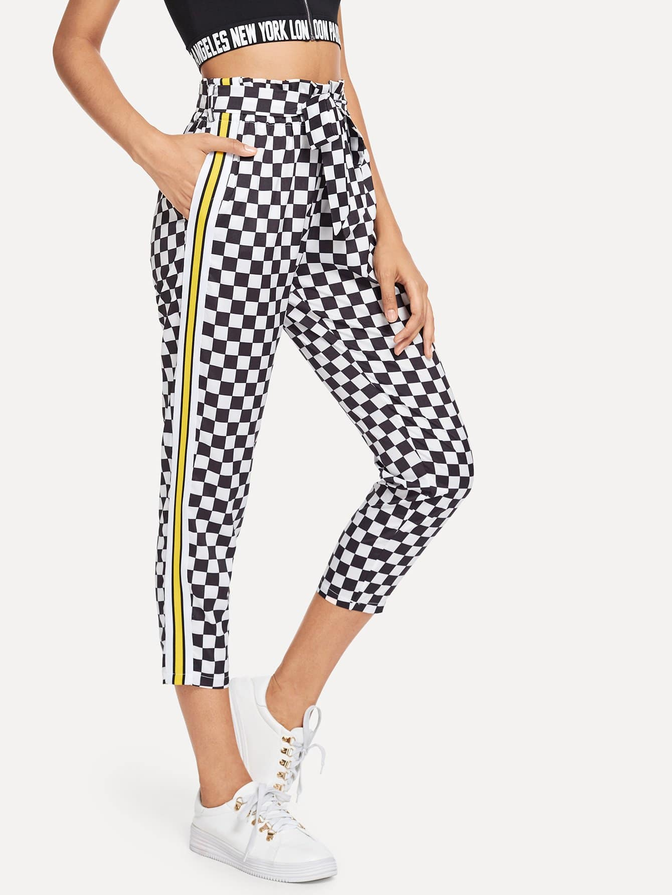 Contrast Taped Side Plaid Pant