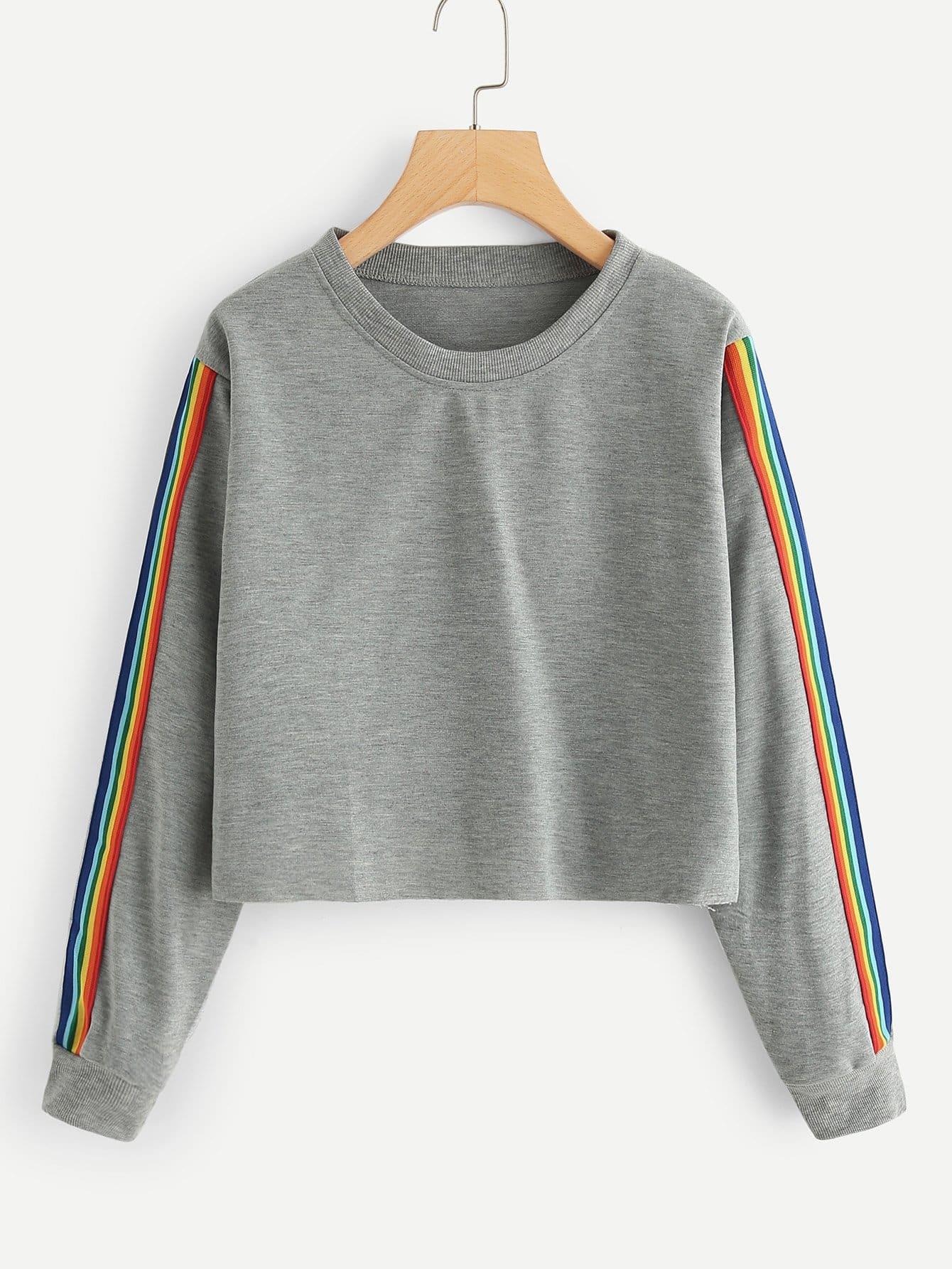 Colorful Striped Tape Side Sweatshirt