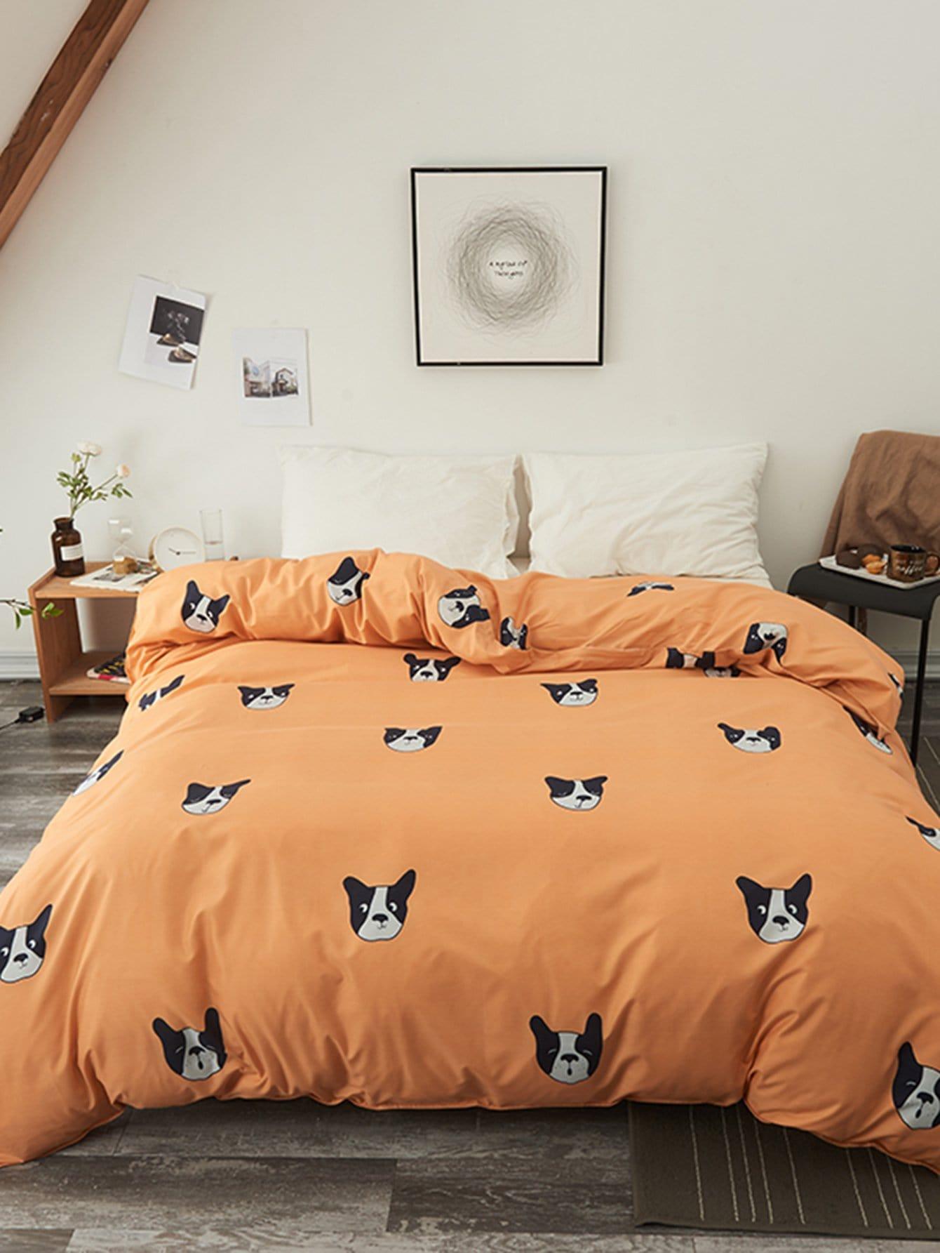 Купить Бархатное постельное бельё с рисунками собак 1 шт, null, SheIn