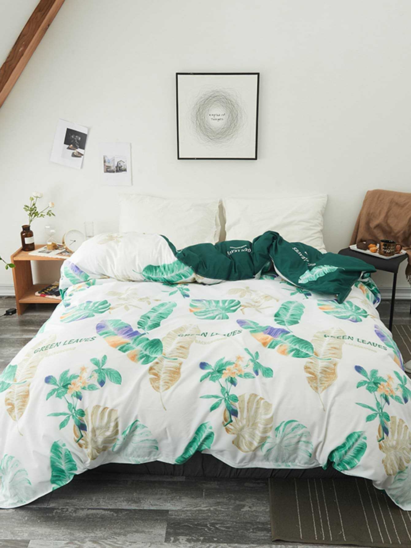 Купить Бархатное постельное бельё с рисунками растений 1 шт, null, SheIn