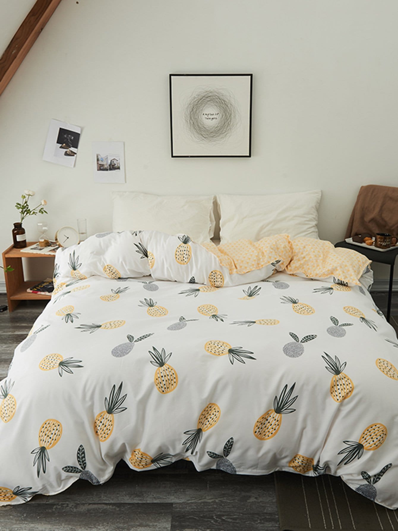 Купить Бархатное постельное бельё с рисунками ананасов 1 шт, null, SheIn