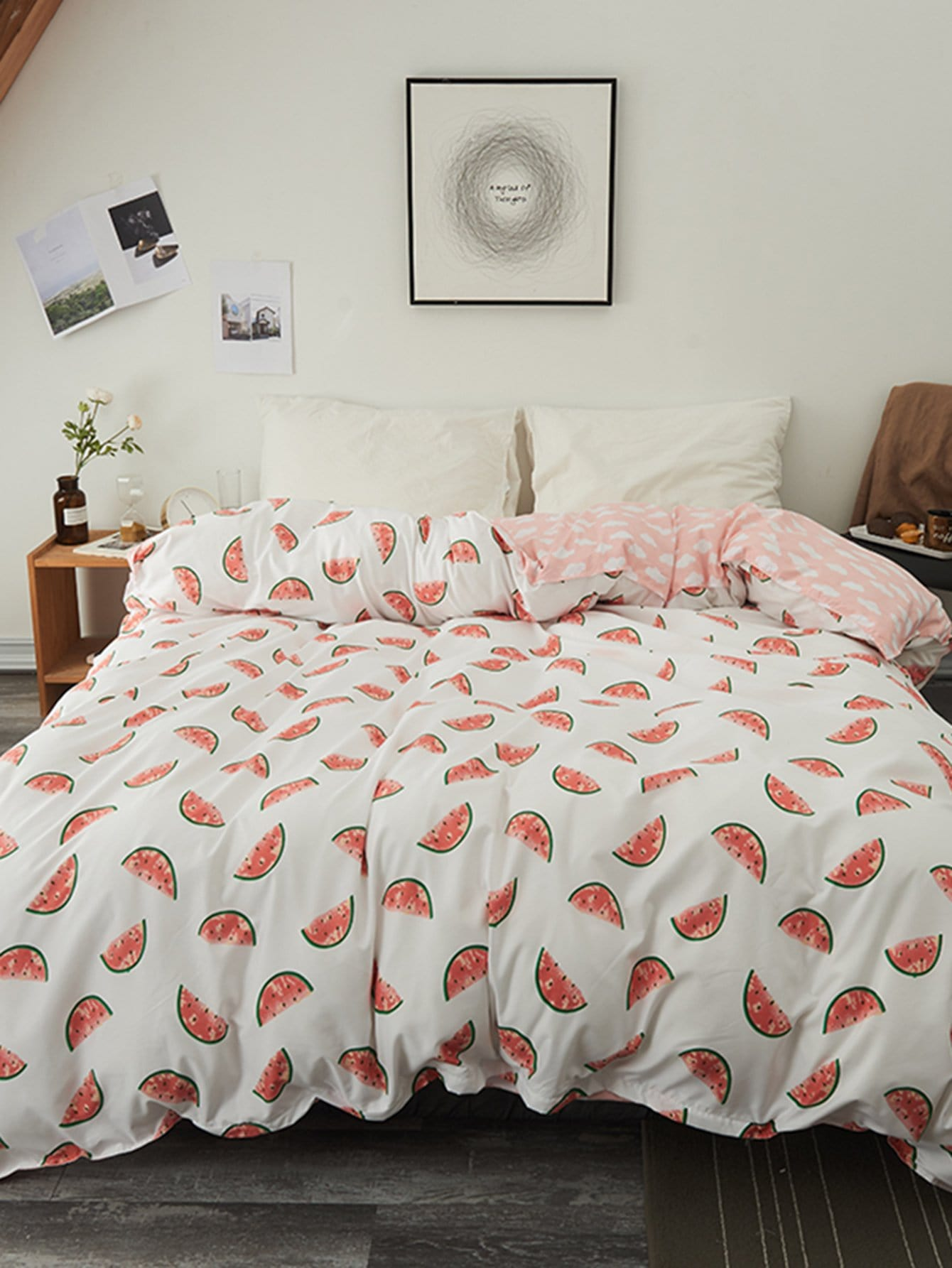 Купить Бархатное постельное бельё с рисунками арбузсов 1 шт, null, SheIn
