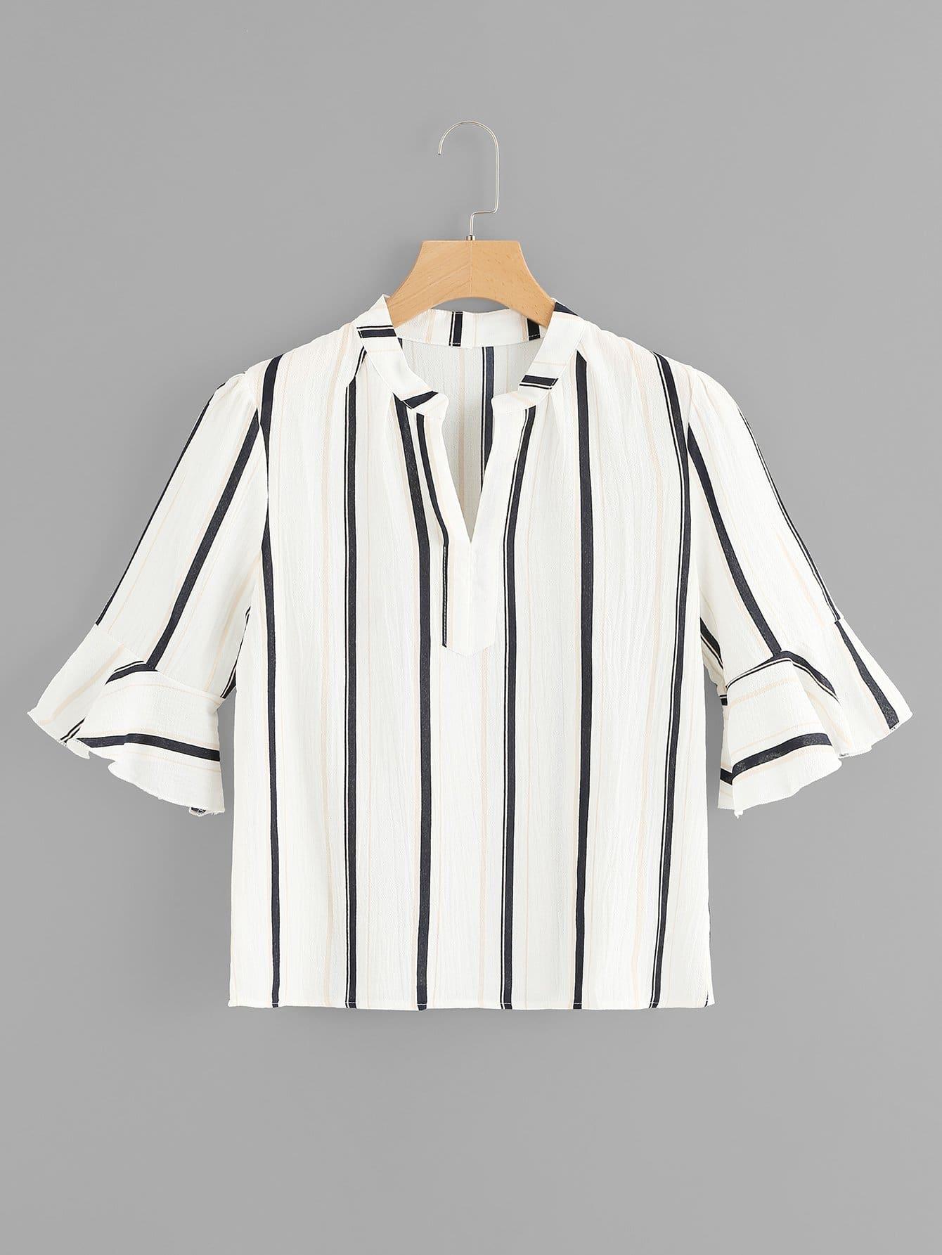 Купить Полосатая рубашка с V-образным вырезом и рукава с розеткой, null, SheIn
