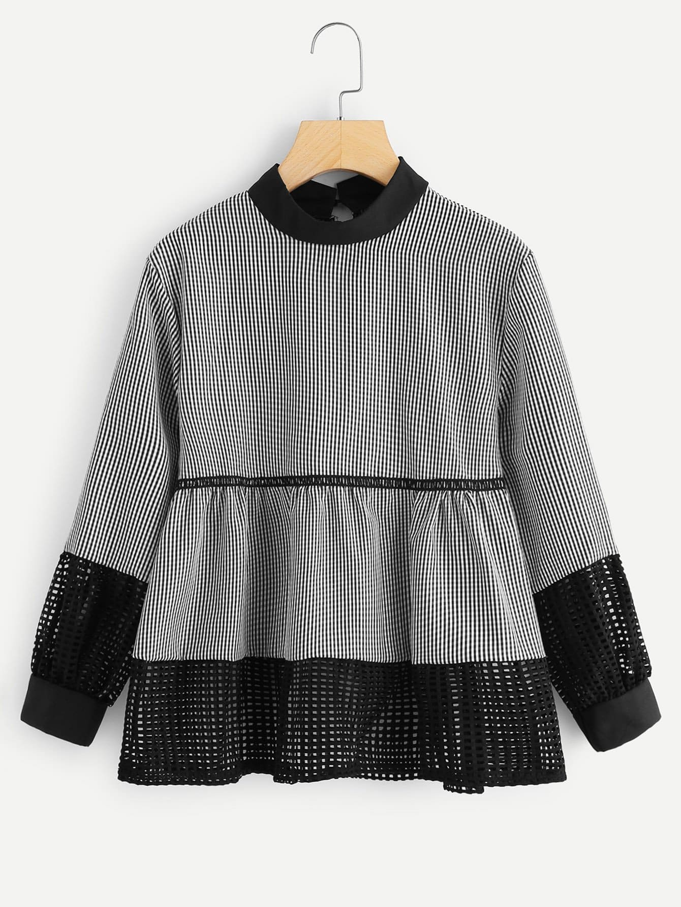 Plaid Contrast Fishnet Ruffle Hem Blouse