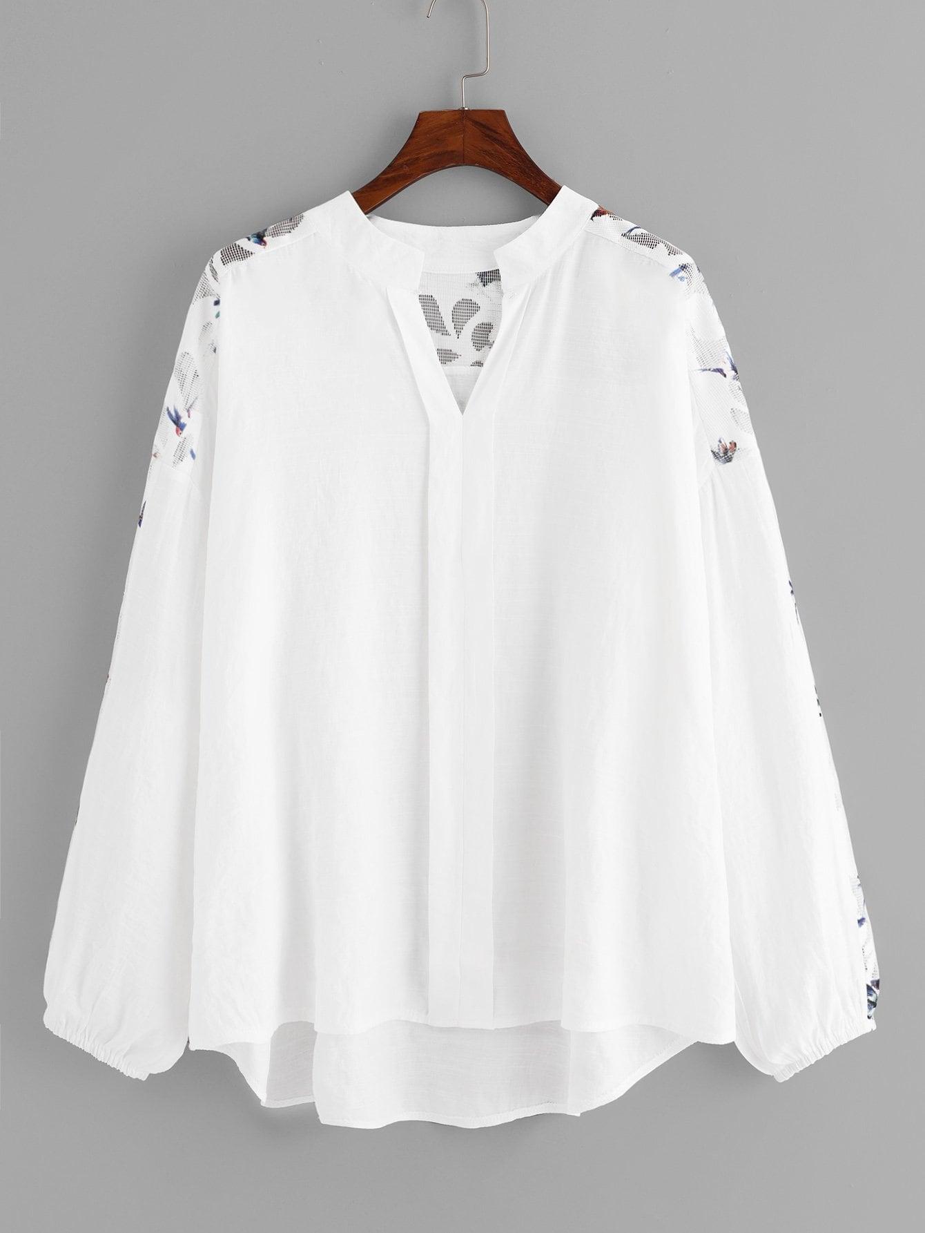 Купить Сетчатая симметрическая рубашка с рисунками птицы, null, SheIn