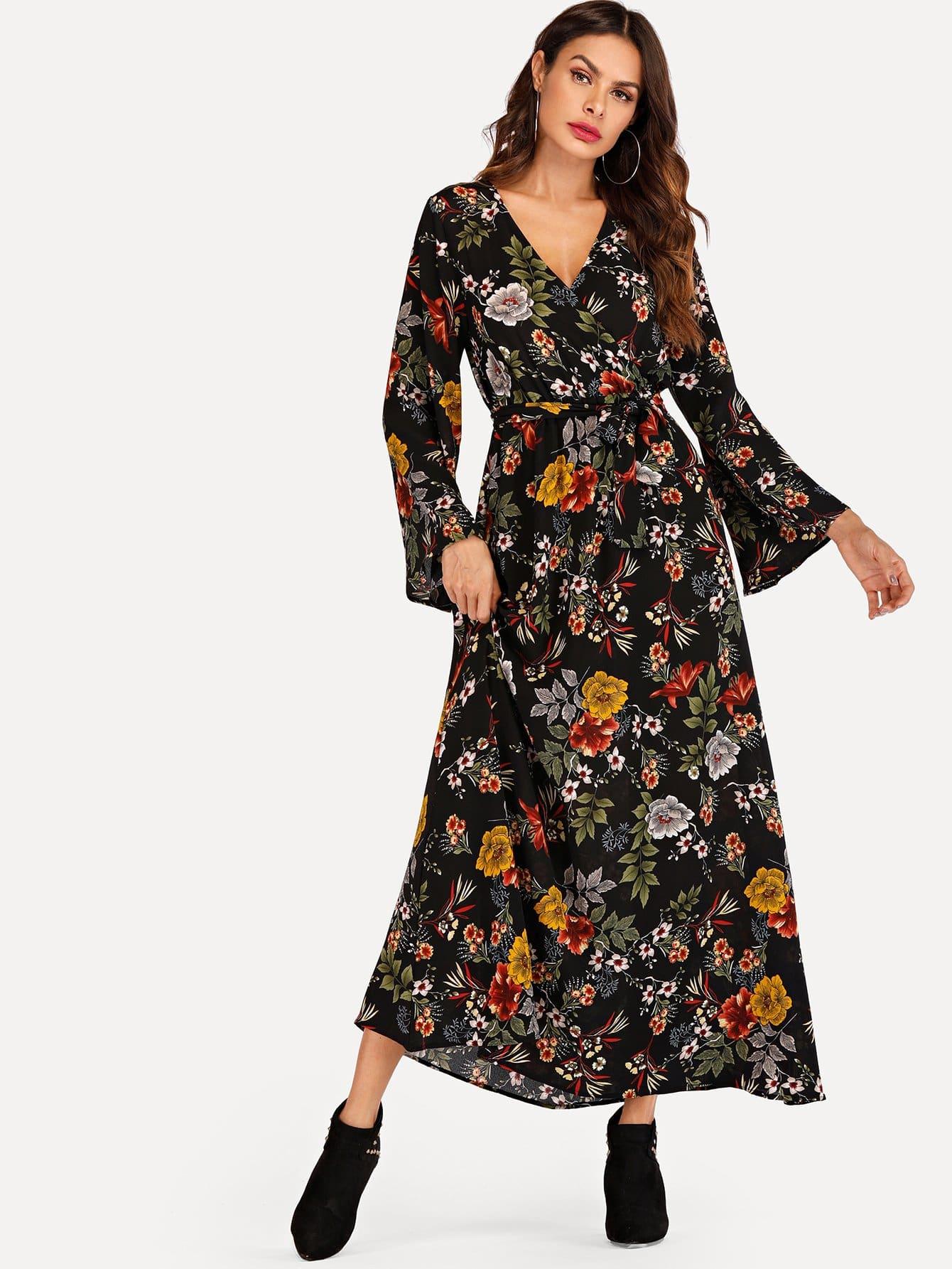 Floral Print Self Tie Waist Wrap Dress