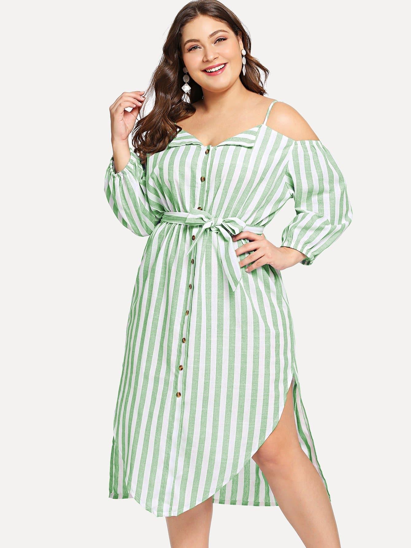 Купить Большое полосатое платье с пояосм и с открытыми плечами, Carol, SheIn