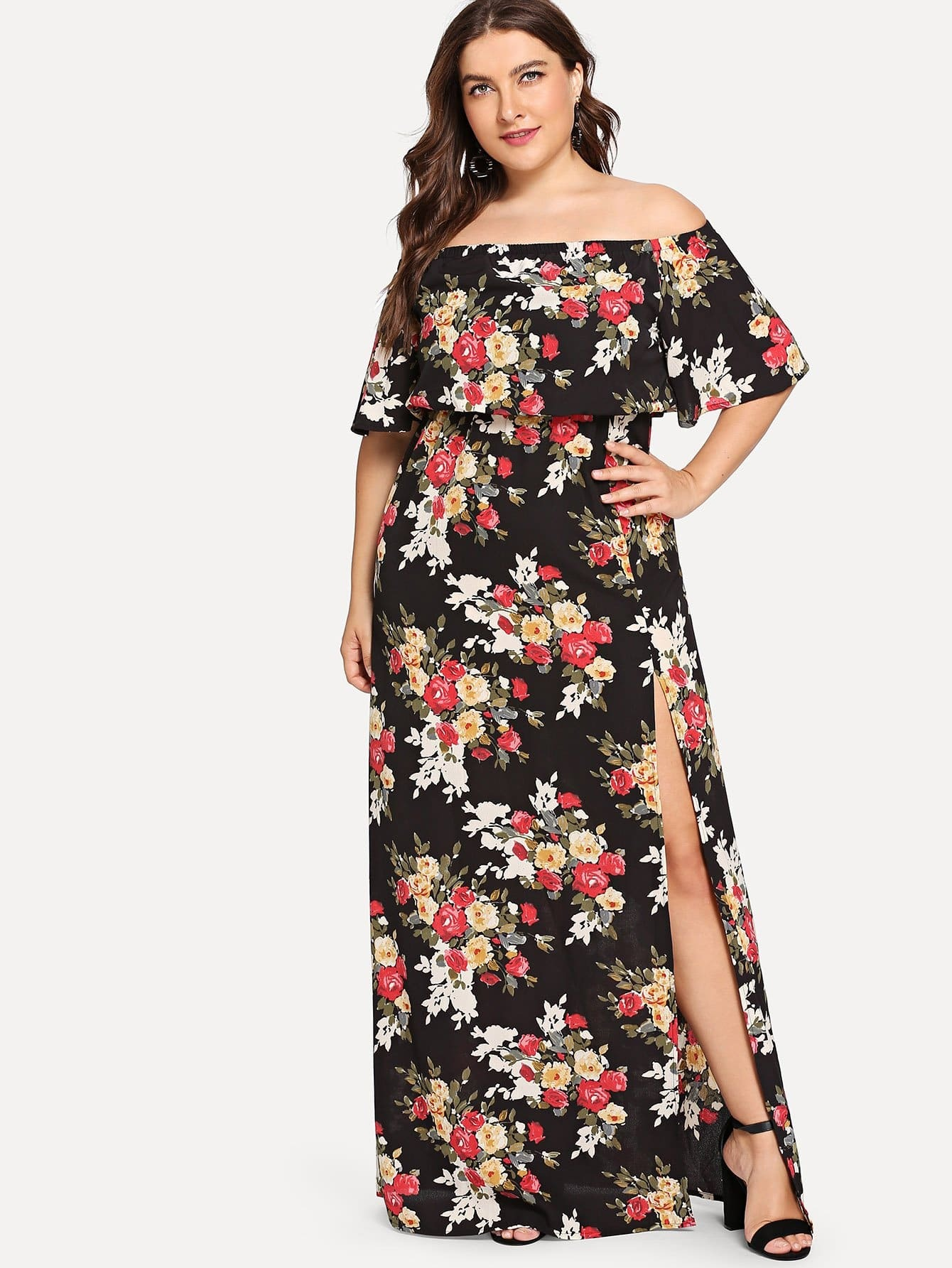 Plus Off-Shoulder Split Side Floral Dress