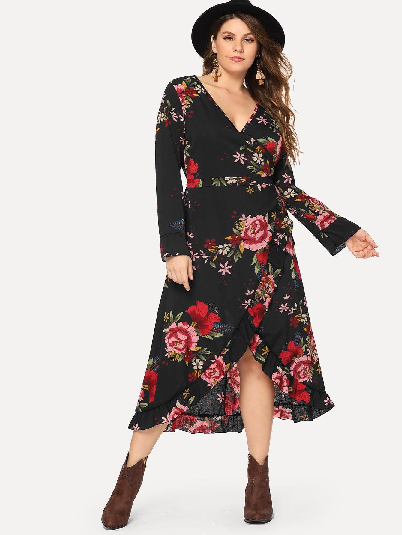 Plus Surplice Wrap Tie Waist Floral Dress