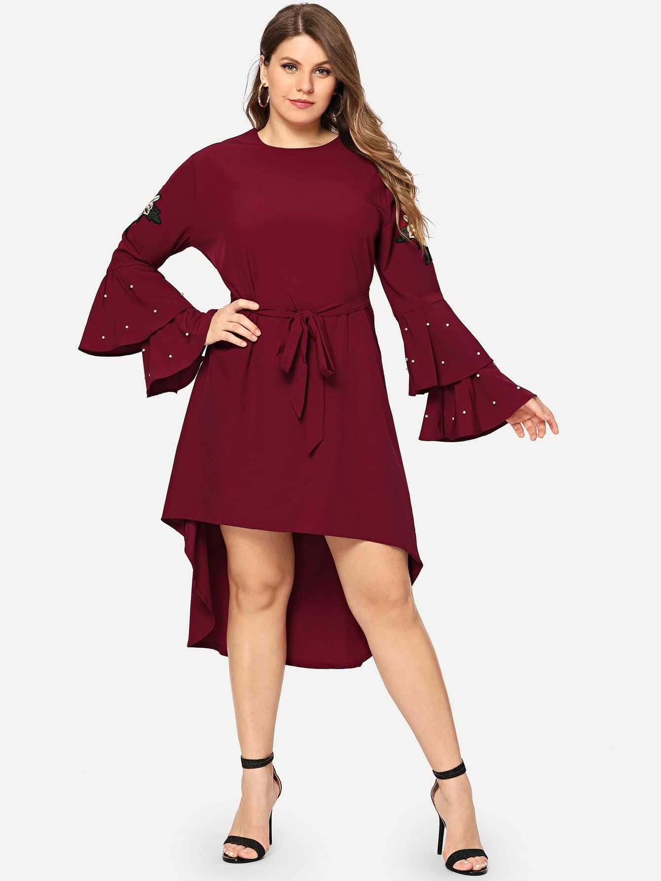 Plus Ruffle Sleeve Faux Pearl Beading Knot Dress
