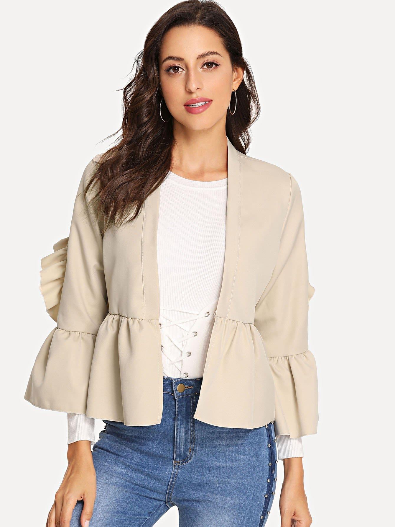 Купить Пальто с кружевными оборками и с закройными рукавами, Mary P., SheIn